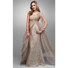 Landa GD651 Evening Dress Long Asymmetrical Sleeveless ($498) ❤ liked on Polyvore featuring dresses, gowns, formal dresses, nude, lace cocktail dress, long evening gowns, lace evening dress and evening gowns