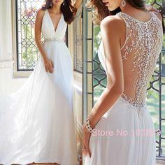 $149 - Elegant Chic Modest Bridal Chiffon A Line Deep V Neck Illusion Back with Long Train Beading Wedding Dress 2015 New Arrival
