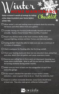 Winter Maintenance Checklist home maintenance Cheat Sheets for Winterizing Your Home Cheat Sheets, Home Maintenance Schedule, Home Buying Tips, Home Fix, Home Management, Protecting Your Home, Real Estate Tips, Home Ownership, Home Repairs