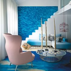 Blue and white Greek island-inspired living room | Holiday hot-spot decorating ideas | Design ideas | PHOTO GALLERY | Housetohome.co.uk