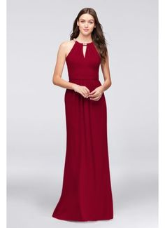 Crepe Halter Bridesmaid Dress with Beaded Neckline F19672