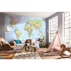 145 in. H x 98 in. W World Map Wall Mural, Multi-Color