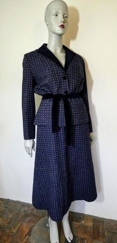 LAURA ASHLEY Navy Tweed Skirt Suit, S 14 Tweed Skirt, Skirt Suit, Wrap Dress, Dress Up, Shirt Dress, Pin Up Looks, Blue Wool, Laura Ashley, Etsy Vintage