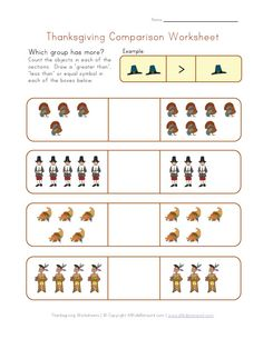 Thanksgiving Worksheet: Practice comparisons - greater than, less than or equal?