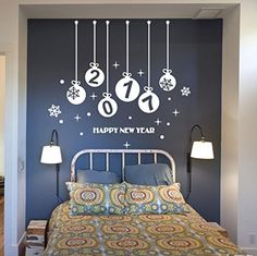 Happy New Year 2017  Wall Sticker Oksale 327 x 295 Inch Merry Christmas Wallpaper Home Shop Windows Applique Papers Mural Decoration Decal White *** Click image to review more details.