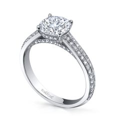 Stunning knife-edge pave diamond solitaire from D.Vatche´.  Follow our boards for the latest engagement ring styles!
