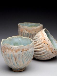 """This week's """"best of kiln"""" award goes to the always fabulous Ginger Birdsey for her gorgeous cup and serving tray set in soft pastels. Clay Pinch Pots, Ceramic Pinch Pots, Ceramic Bowls, Ceramic Art, Pottery Bowls, Ceramic Pottery, Pottery Art, Thrown Pottery, Pottery Wheel"""