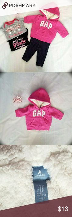 Baby Gap Factory Pink Zip Hoodie Pink Baby Gap Factory Hoodie. Gently used. Perfect for Fall and Spring. Size 0-3 Washed with Dreft detergent.  Pet free/ smoke free home. Baby Gap Factory Jackets & Coats