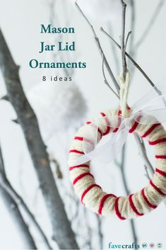 8 mason jar lid ornaments masonjars canningjars canninglids ornaments christmas - Homemade Christmas Decorations Pinterest