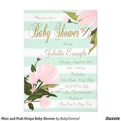 Mint and Pink Stripe Baby Shower Card