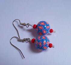 Millefiori Polymer Clay Beaded Earrings, red flowers. $12.00, via Etsy.