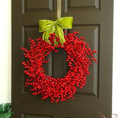 red berry wreath berries wreath front door decor wreath Christmas wreaths fall wreaths
