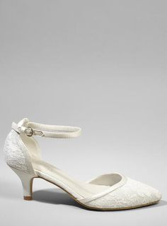 Darcy Lace Embroidered Ankle Strap Kitten Heels, Ivory