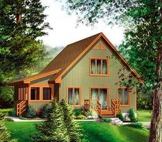 This cabin design floor plan is 1352 sq ft and has 2 bedrooms and has 1 bathrooms. Cabin House Plans, Cabin Floor Plans, Log Cabin Homes, Tiny House Plans, Cottage Homes, Cabin Style Homes, Small Cottages, Cabins And Cottages, Plan Chalet