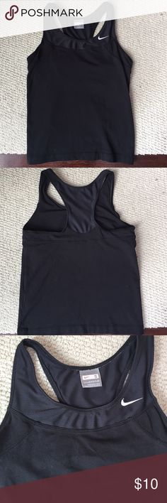 Nike racer back tank. Nike black racer back tank with built in bra. Size small. Great condition.  No fading or piling.92% cotton 8% spandex. Mesh is 80% polyester and 20% spandex. Nike Tops Tank Tops