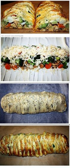 Breast with vegetables and cheese in puff pastry Breast . Kids Meals, Easy Meals, Good Food, Yummy Food, Food Tags, Tapas, Cooking Recipes, Healthy Recipes, How To Cook Chicken