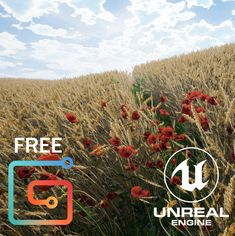 UE4 wheat field with poppies in the sunset, Nils Arenz on ArtStation at https://www.artstation.com/artwork/bAgGm