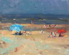 """New Blog Post: http://rosepleinair.com/seascape-plein-air-reds-and-turquoises/ Seascape Pleinair: """"Reds, Turquoises – Summer Morning Beach and Parasols"""" I remember painting this in the very early morning. As I painted this scene more and more peeps arrived, so at the end, that whole peaceful thing with only red and turquoise fell away. But then ... View More at: http://rosepleinair.com #FiguresBeach, #Paintingseascapes, #Roosschuring, #Seascape, #SeascapePl"""