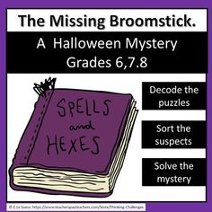 #ThinkingChallenges A Halloween original mystery written for upper primary/ middle school students in time for the season. Mystery includes all the suspects, clues and answers for a fun classroom lesson. Challenging fun for grades 6,7,8. No preparation needed. Just download, print and go. What you get Halloween Activities, Halloween Fun, Secret Code, Spelling, Middle School, Have Fun, Mystery, Students, Coding