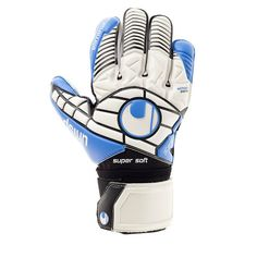 PALM: Exclusive SUPERSOFT latex in energy blue BACKHAND: 3D-embossed latex CUT: Classic cut provides a maximised catching area GLOVE BODY: Breathable textile for good ventilation FASTENING: Wrap aroun