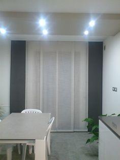 Tenda a 6 pannelli scorrevoli lino bianco lurex e grigio piombo opaco, arredamento mariano, verona, tende verona, negozio tessuti verona, negozi tende verona