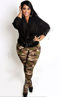 Plunge Neck Top, $15.99 by Thick Chic Boutique #plussizefashion Love the shirt and shoes!-Susie Kue