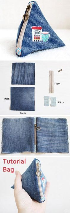 Make an easy denim triangle pouch. DIY tutorial in pictures pussukka pussi farkku ohje Sewing Projects For Beginners, Sewing Tutorials, Sewing Patterns, Bag Tutorials, Purse Patterns, Sewing Diy, Diy Projects, Artisanats Denim, Denim Fabric