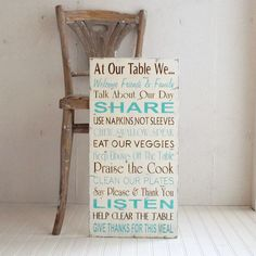 Family Rules Table Manners Kitchen Rules in by SignsofVintage, $85.00