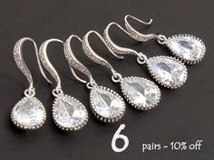 Will You Be My Bridesmaid Gift Set Of 6 10% Off Bridesmaid Jewelry Wedding Jewelry Set Dangle Teardrop Earrings