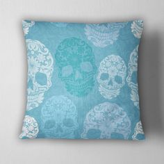Shades of Blue Sugar Skull Decorative Throw Pillow Our Designs are printed in house on quality fabric, with an off white canvas backing, zippered closure, and include the pillow insert. Pillow Covers