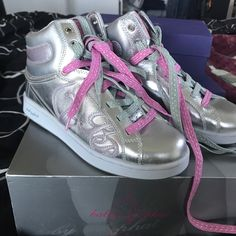 87ecf6aaf45 Baby Phat Shoes | Baby Phat Glitter Cat High Tops | Color: Silver | Size