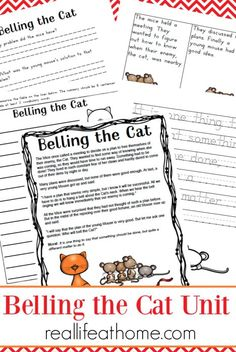 Aesop Fables Worksheets Packet: Belling the Cat Printables  During one year of our homeschooling we spent time going through a book of Aesops Fables. While there was the occasional story that my kids didnt like as much I was surprised at how much they enjoyed these fables that always came equipped with a moral at the end. Because of this Im sharing an Aesop Fables Worksheet packet  Belling the Cat printables.  This Belling the Cat printables and worksheets activity packet is perfect fora…