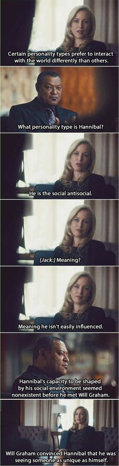 FBI agent Jack Crawford discussing personality types with Dr. Bedelia Du Maurier... Kaiseki deleted scene. Source: ixilecter