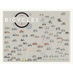 Chart the evolution of the two-wheeled wonder with this genealogist-approved infographic poster. Bike Poster, Forest Stewardship Council, Long Island City, Famous Models, Cool Gifts, Evolution, Book Art, Vintage World Maps, Infographic