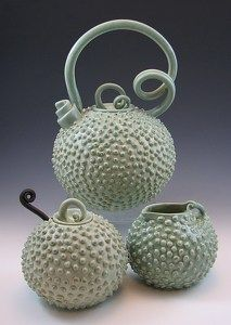 Erin Pietsch - Work Detail: spike tea set- look at that handle and spout! (info previous pinner/s, thank you)  GRS says:  Funky!  LOVE