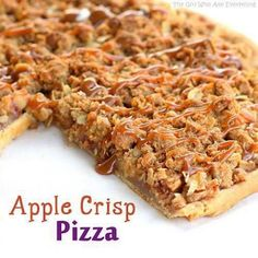 """Apple Crisp Pizza Single-crust pie Pastry 2/3c sugar 3T flour 1t Cinnamon 4med apples-diced TOPPING: 1/2c flour 1/3c br sugar 1/2c oats 1t cinnamon 1/4 c butter DRIZZLE: 1/2c caramel Oven 350. Roll pastry to fit 12"""" pizza pan; fold under edges to give pizza a bit of a raised crust. Combine sugar, flour & cinnamon + apples. Arrange apples in single layer over crust. Topping: Combine flour, br sugar, oats, cinnamon & butter. Mix & Sprinkle over apples. Bake @350/40 min. Remove & drizzle w/caramel."""