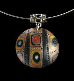 Rustic Tribal Necklace - Polymer Clay Necklace - Art Pendant - Polymer Clay Jewelry - Art Jewelry - Gift Idea - Jewelry Gift - Gift for Her
