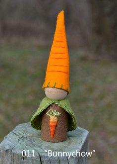 """Bunnychow"" -- peg gnome handmade from wooden peg, wool felt, and cotton floss."