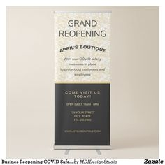 Busines Reopening COVID Safety Gold Marble Retractable Banner Retractable Banner Stands, Modern Typography, Gold Marble, Grand Opening, Banner Design, Corporate Events, Farmers, Safety, Templates