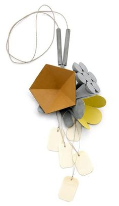 Lucy Sarneel, Daily Offer V, 2012, necklace, zinc, paint, varnish, hemp rope, Microwood, bone, 300 x 150 x 50 mm, photo: Erik Knoote