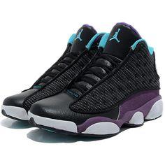 TOP Mens Air Jordan 13 Retro Shoes Black/Purple/Green TAJ13-008 via