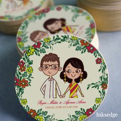 Retro Chic - Green Creative Wedding Invitation Cards  #Retro #Cartoon #Illustration #Couple #Floral #Indian #Wedding #Invitation #Card  #Circular #Cut #Modern