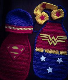 Crochet Newborn Super Hero Hat and Cape/Wonder Woman/Superman  by  Sofiascreation12