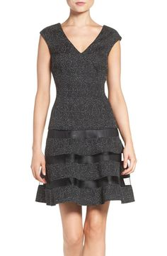 Metallic Knit Aidan by Aidan Mattox fit and flare dress @AidanbyAM