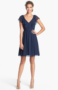 Bridesmaid Dress: Jenny Yoo 'Isabel' Ruffled Chiffon Fit & Flare Dress (Online Only) available at Chiffon Ruffle, Ruffle Dress, Dress Skirt, Navy Dress, Chiffon Dresses, Fit Flare Dress, Fit And Flare, Cute Dresses, Beautiful Dresses