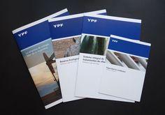 YPF - Comunicación corporativa  Diseñamos folletos de comunicación corporativa para la refinería Luján de Cuyo sobre la reserva ecológica y el sistema integral de tratamientos de efluentes. Un manual de prevención de daños por terceros. Además trabajamos en el folleto institucional y en la edición del nuevo mapa de procesos 2011.