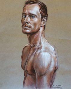 Michael Fassbender by elenachukhriy #art #portrait #pastel #michaelfassbender #actor#hollywood #assassinscreed #fassbender