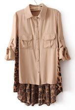 Nude Contrast Leopard High-Low Chiffon Blouse $30.00