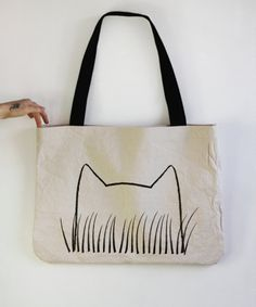 0f992a8a9ac8 Hand Printed Cat GrassTote Bag gift for cat lover eco by Xenotees