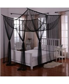 4 Corners Hanging Bed Canopy Insect Bed Netting Curtain Dome Mosquito Net Bed Net For Double Bed Full Queen King Size, Black Hanging Bed Canopy, Canopy Bed Curtains, Bed Canopies, Curtains Above Bed, Blackout Curtains, 4 Post Bed, Bed Net, Room Ideas Bedroom, Bedroom Decor